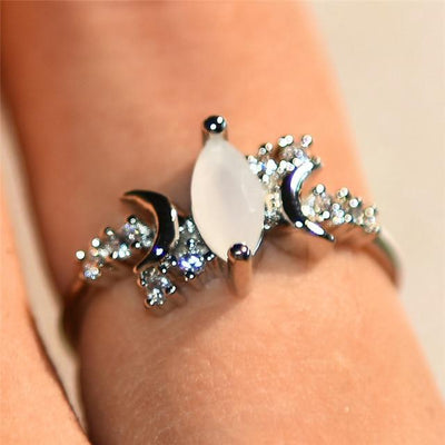 Triple moon Moonstone Ring Ring MoonChildWorld 5 Silver