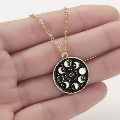 Moon Phase Glow In The Dark Necklace Necklace MoonChildWorld 14K Gold Plated