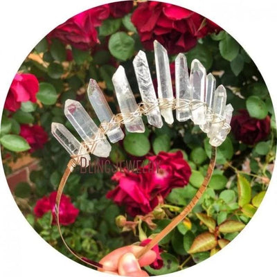 Natural Crystal Quartz Crown Hair Accessories Hair Accessories MoonChildWorld Clear