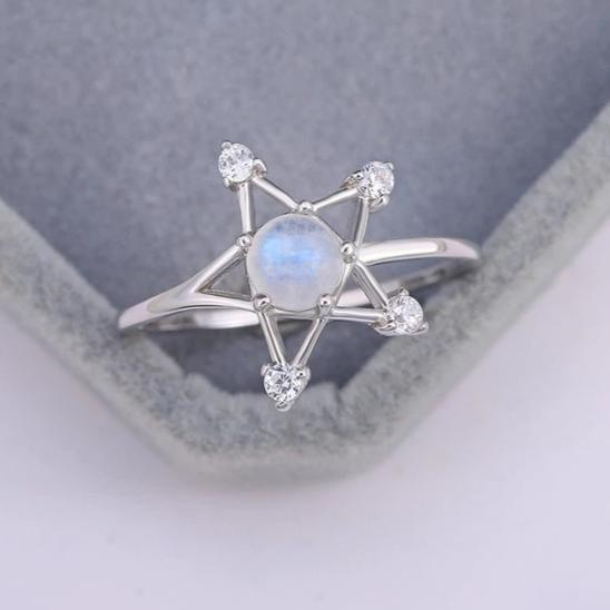 Opal Moonstone Pentagram Wicca Ring Ring MoonChildWorld