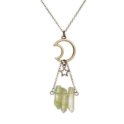 Aura Quartz Moon Star Necklace Necklace MoonChildWorld Green