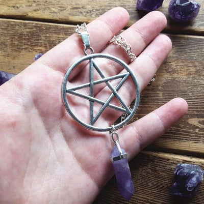 Pentacle Amethyst Wicca Necklace Necklace MoonChildWorld Silver 45cm