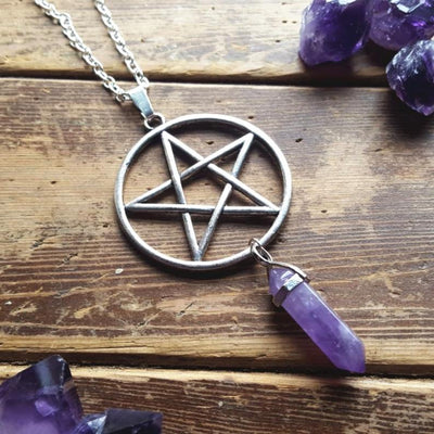 Pentacle Amethyst Wicca Necklace Necklace MoonChildWorld