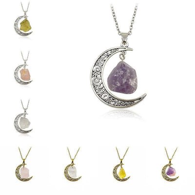 Wicca Moon Natural Stone Necklace Necklace MoonChildWorld