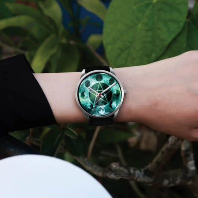 Pentagram moon wicca watch Silver Watch wc-fulfillment
