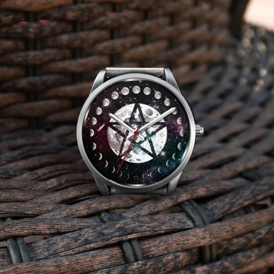 Moon pentagram wicca watch