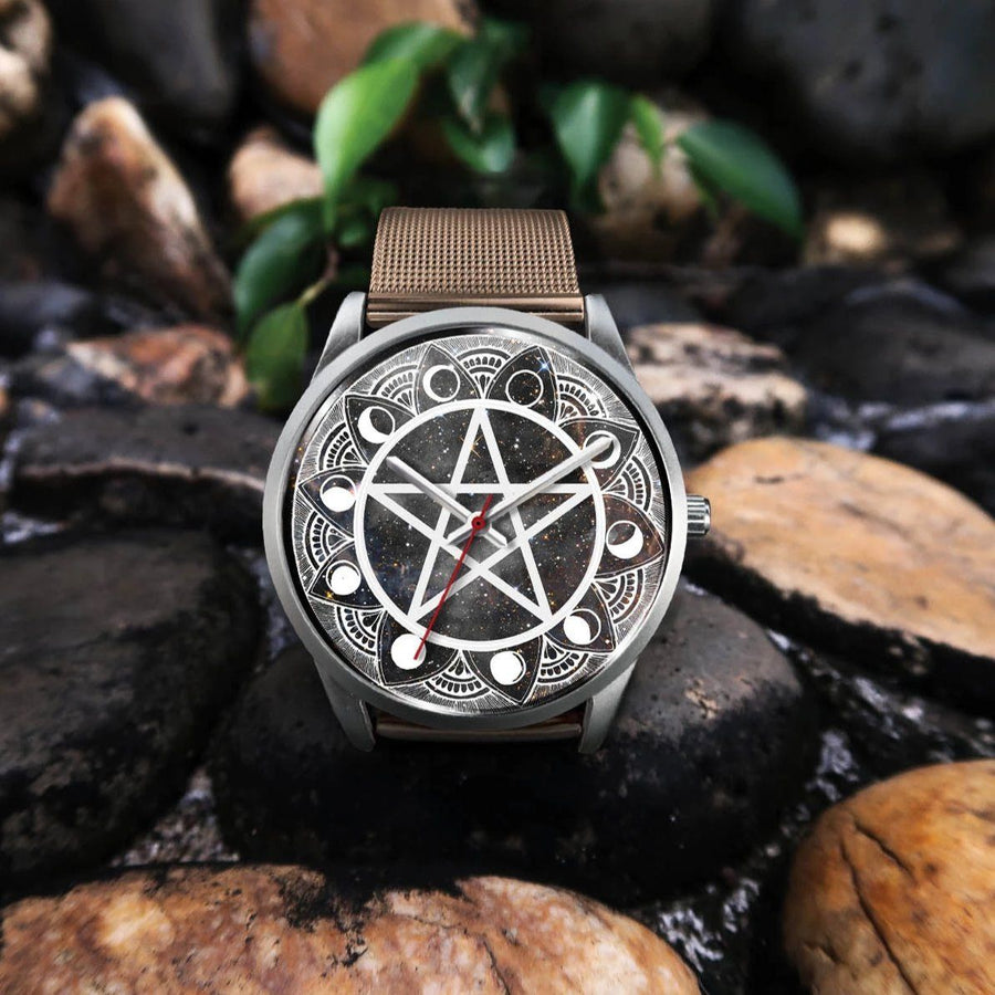 Pentagram moon wicca watch