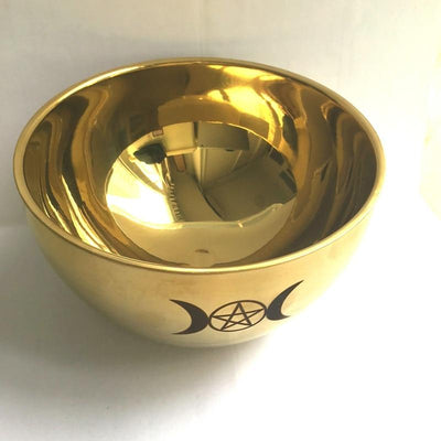 Wicca Triple moon Gold Plating bowl Bowl MoonChildWorld