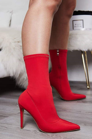 Red Pointed Sock Stiletto Heeled Boots