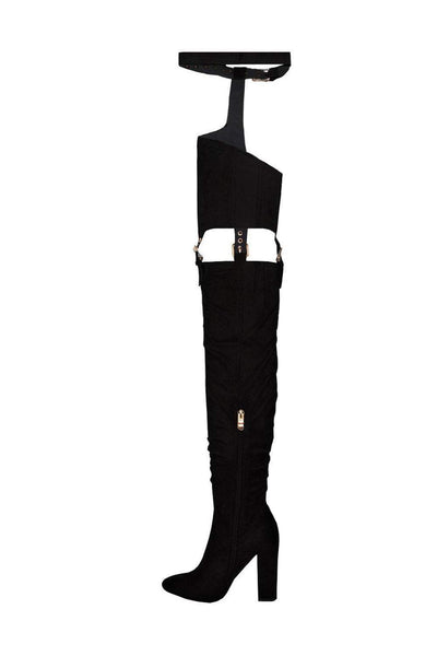 Black Suede Belted Thigh High Boots