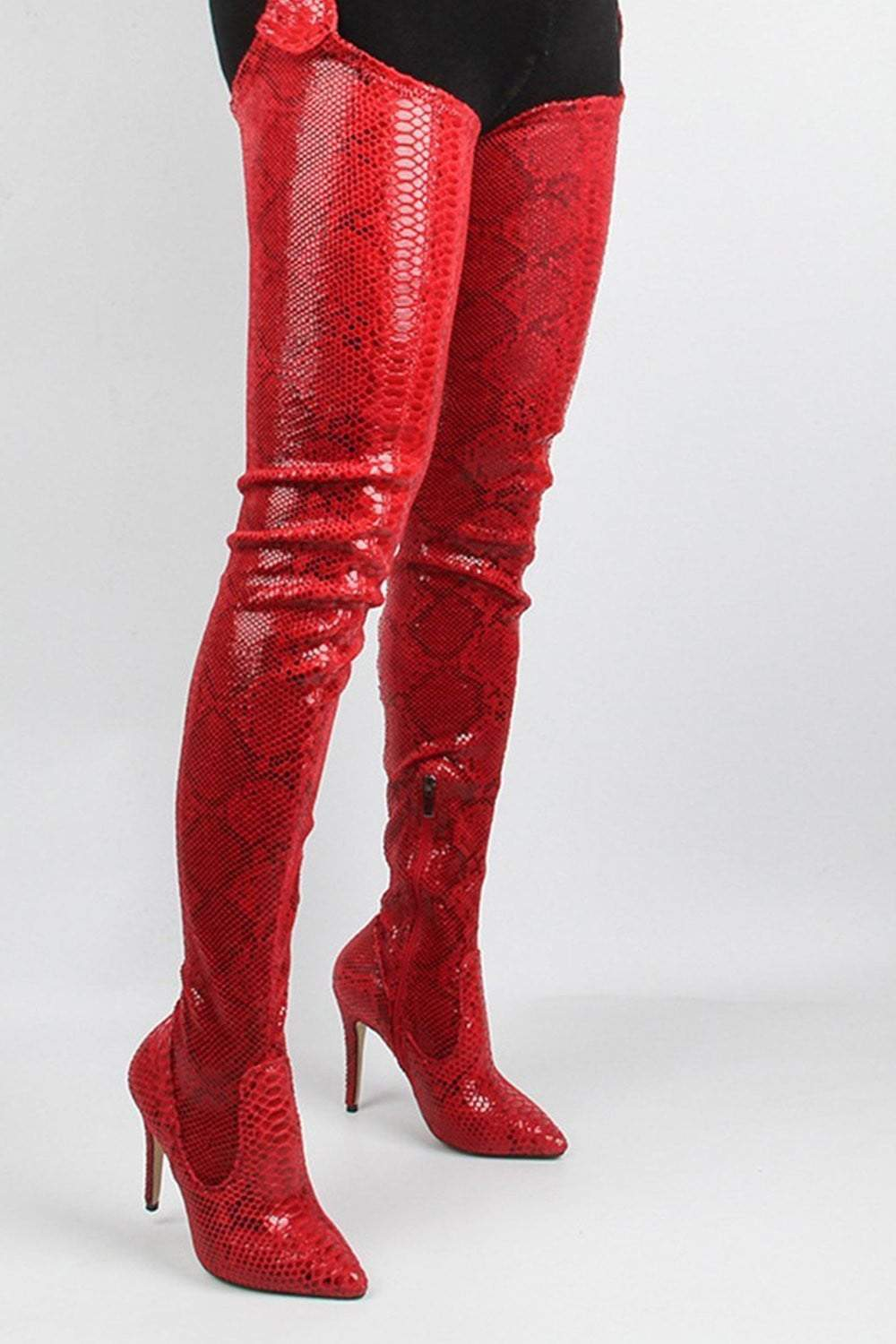 Red Snakeskin Belted Thigh High Boots