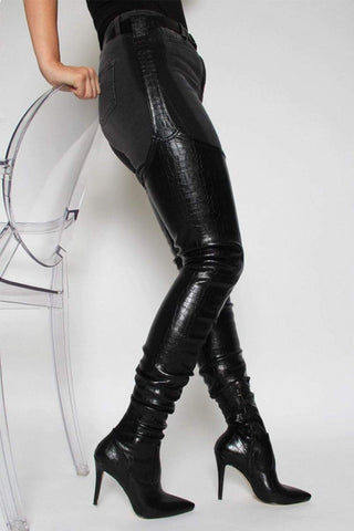 Black Croc Belted Thigh High Boots