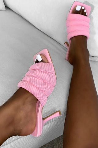 Baby Pink Mesh Padded Square Toe Mules