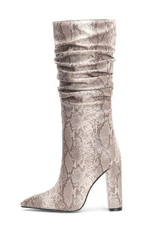 Beige Snakeskin Ruched Knee High Boots