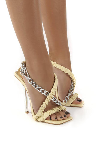 Cream Yellow Pu Chain Detail Statement Stiletto Heels