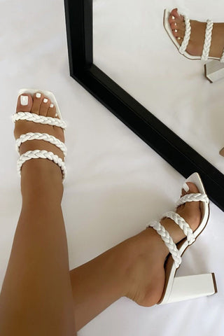 White Knotted Strap Block Heel Mules
