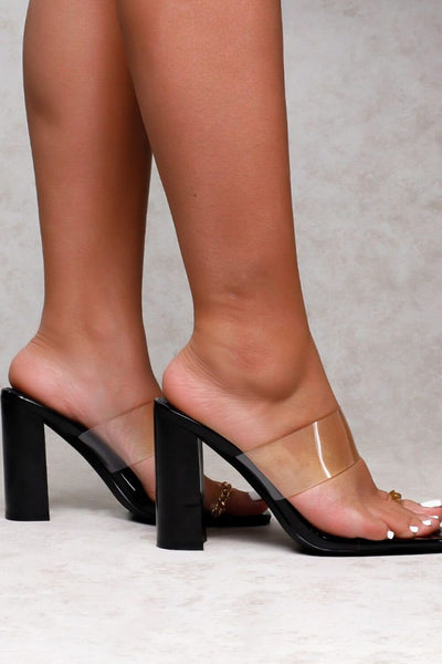 Black Clear Chain Toe Loop Block Heel Mules