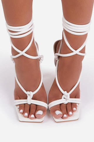 White Faux Leather Lace Up Square Toe  Sculptured Heel