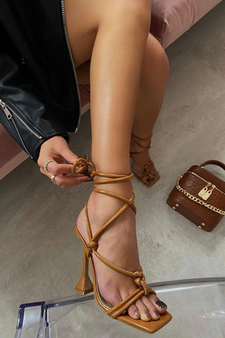 Tan Brown Faux Leather Lace Up Square Toe  Sculptured Heel