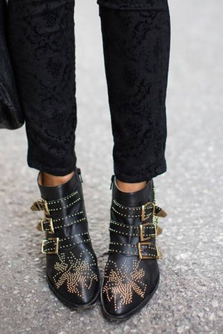 Black Gunmetal Flower Studded Leather Ankle Boots