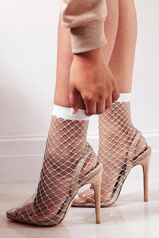 Nude Clear Perspex Fishnet Ankle Sock Heels