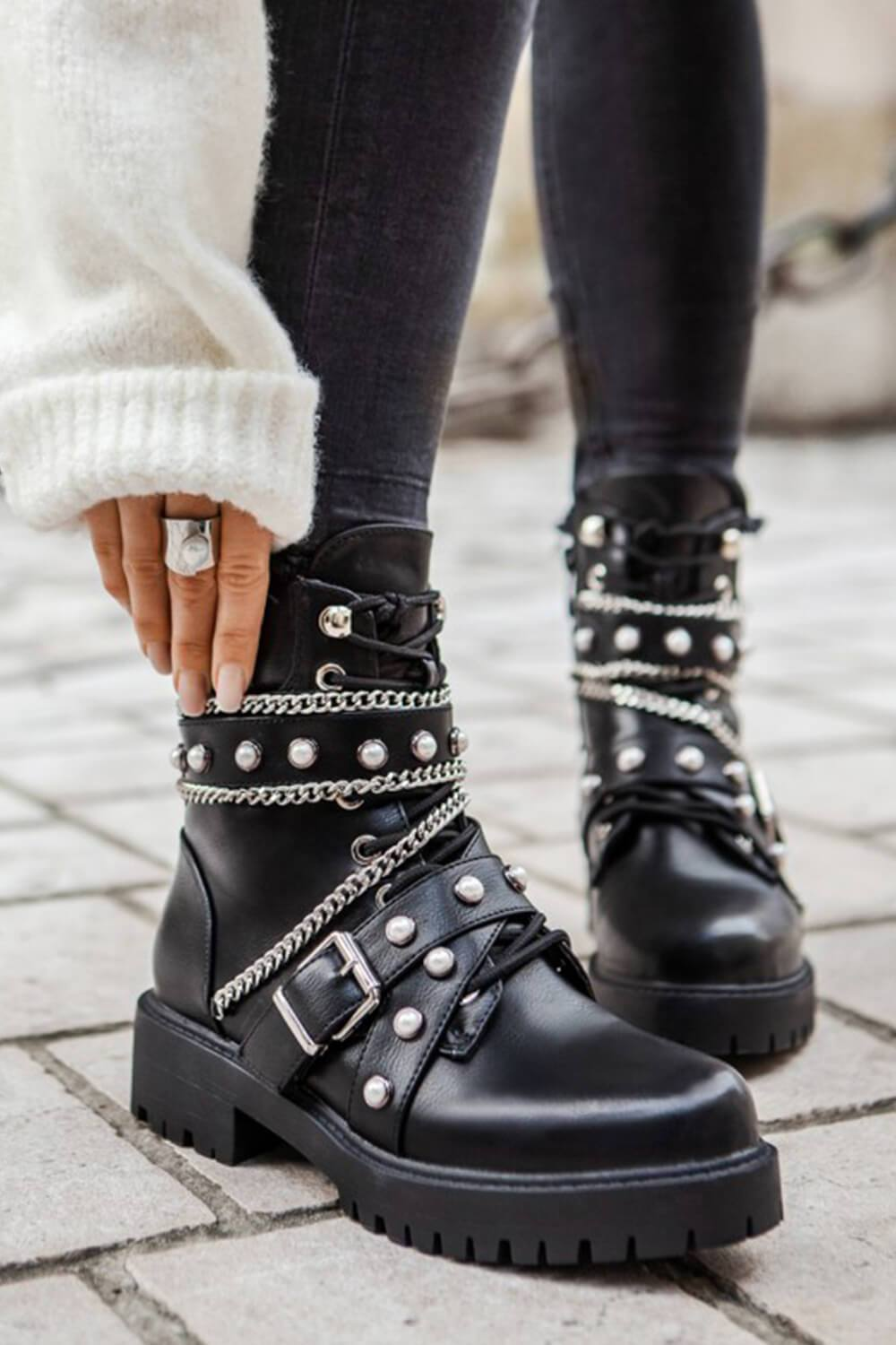 Black Pearl And Metal Buckle Detail Chain Lace-Up Ankle Moto Boots