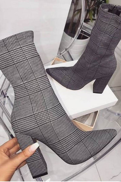 Gwen Grey Check Block Heel Ankle Boots