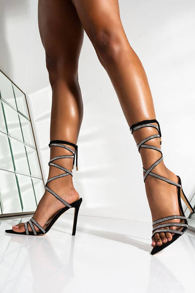 Diamond Wrapped Strappy Thigh High Lace Up Heel