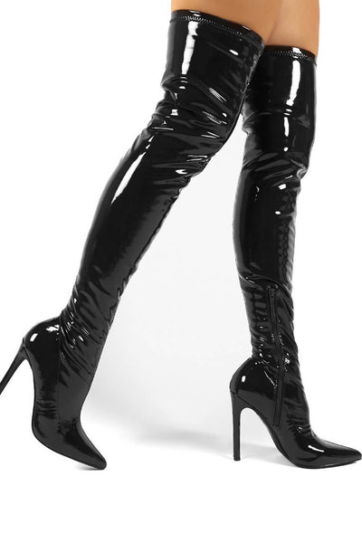 Black Patent Stiletto Heeled Over The Knee Pu Boot