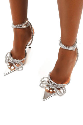 Clear Perspex Wrap Around Diamante Bow High Heel