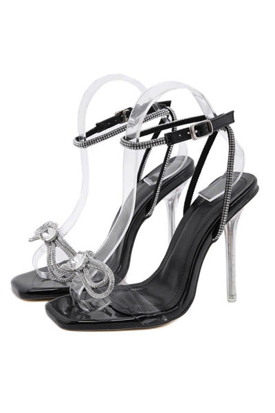 Black Patent Diamante Bow Detail Square Toe Clear Perspex Heel