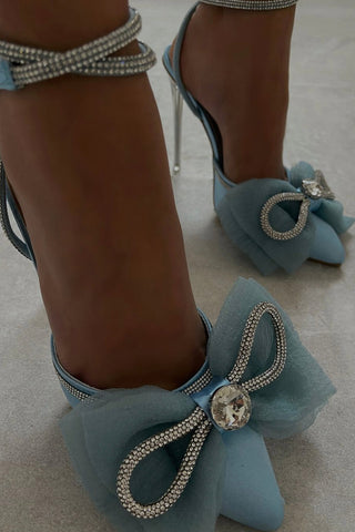 Blue Satin Bow Detail Diamante Lace Up Clear Perspex Stiletto Heel