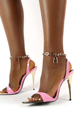 Pink Pastel Wide Fit Lock Chain Detail Anklet Strap Stiletto Heels