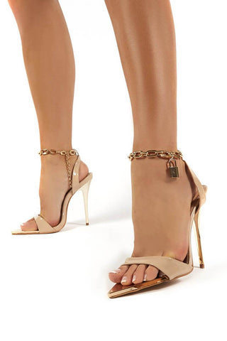 Nude Pastel Wide Fit Lock Chain Detail Anklet Strap Stiletto Heels