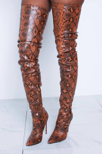 Orangered Snake Print Stiletto Thigh High Boots