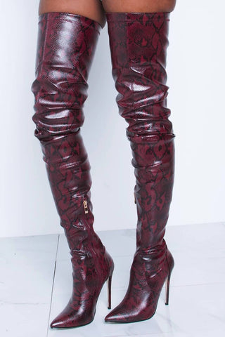 Firebrick Snake Print Stiletto Thigh High Boots
