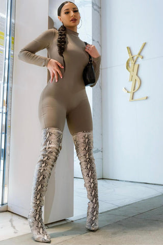 Lightgray Snake Print Stiletto Thigh High Boots