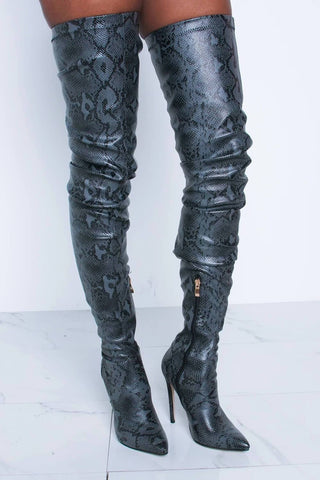 Darkgray Snake Print Stiletto Thigh High Boots