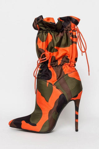 Camouflage Toggle Pointed Stiletto Heeled Boots