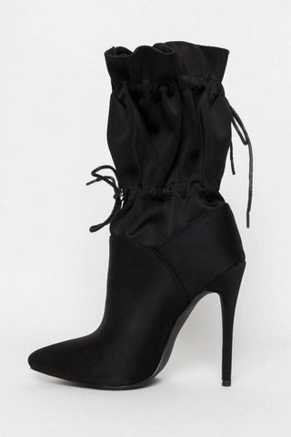 Black Toggle Pointed Stiletto Heeled Boots