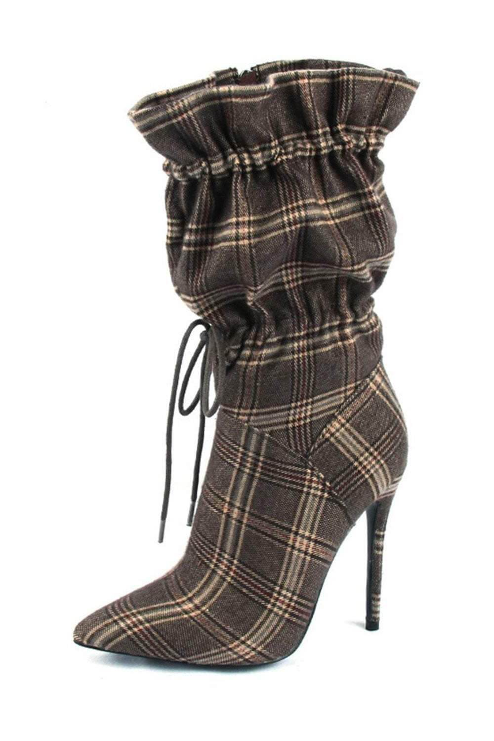 Plaid Toggle Pointed Stiletto Heeled Boots