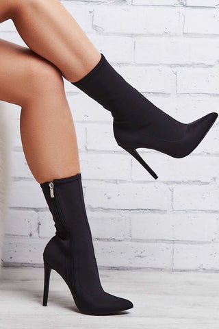 Black Pointed Sock Stiletto Heeled Boots