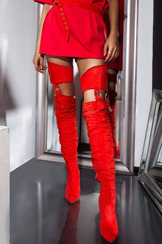 Red Suede Belted Thigh High Boots