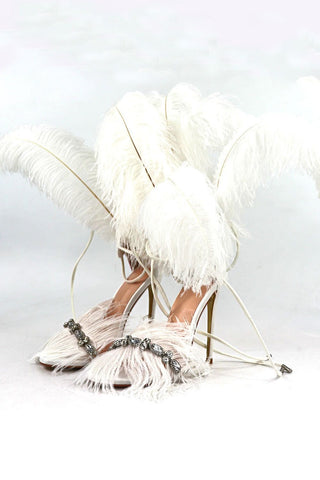 White Feather Rhinestone Embroidered High Heeled Sandals