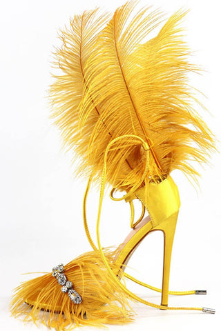 Yellow Feather Rhinestone Embroidered High Heeled Sandals