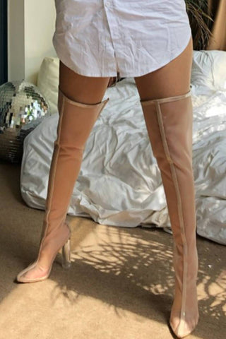 Beige Frost Thigh High Boots