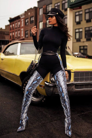 Snake Belted Thigh High Stiletto Boots