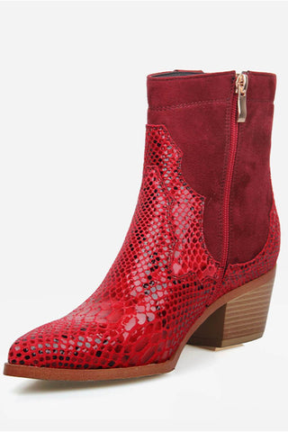 Red Snake Suede Cowboy Boots