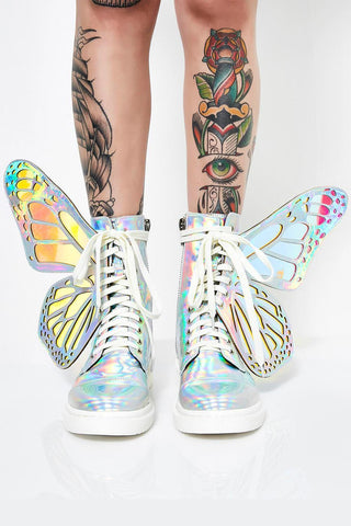 Holographic Metamorphic Lace Up Combat Boots With Butterfly Wings