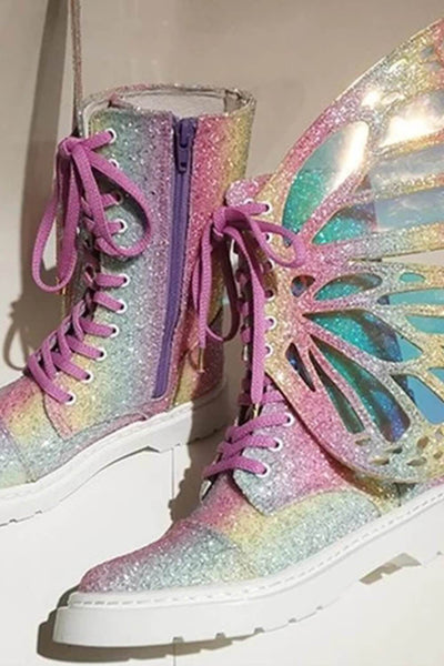 Rainbow Metamorphic Glitter Lace Up Combat Boots With Butterfly Wings